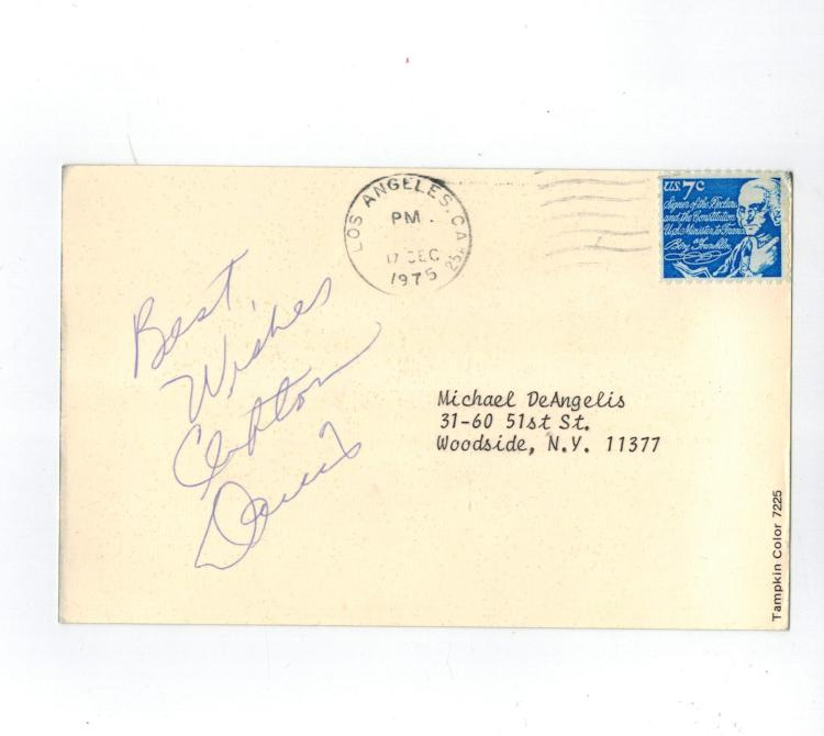 Clifton Davis Hand Signed Postcard.