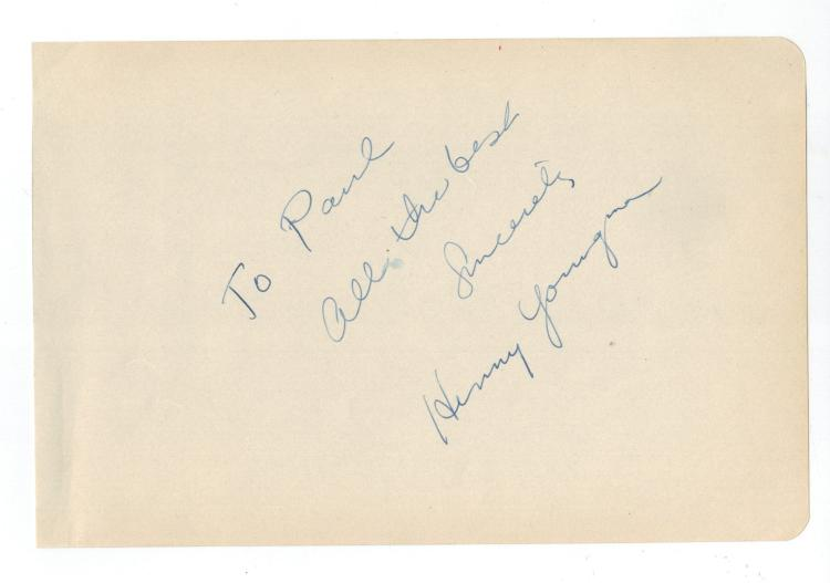 Henny Youngman Hand Signed Album Page....King of the One Liners