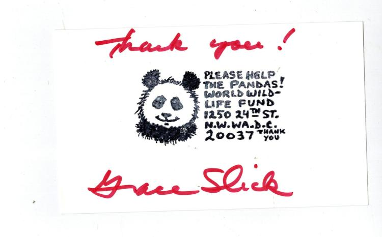 Grace Slick Hand Signed Card...