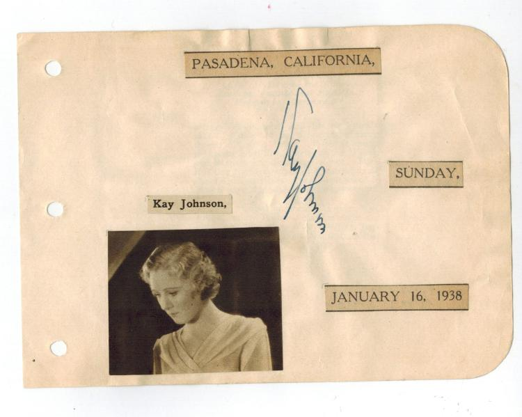 Kay Johnson Hand Signed Album Page.