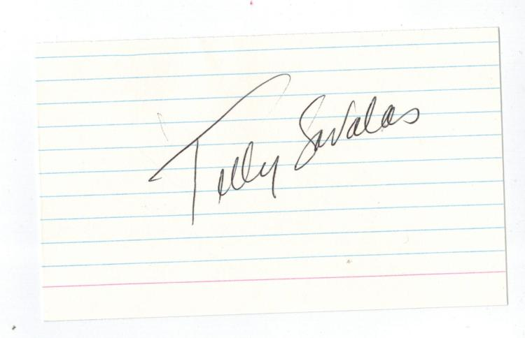Telly Savalas Hand Signed Card.