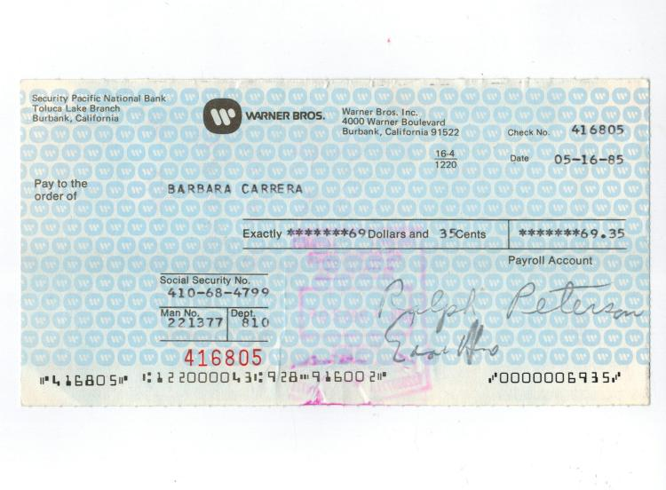 Barbara Carrera Hand Signed Endorsed Check From Warner Bros.