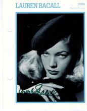 Lauren Bacall Hand Signed Photo.