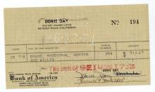 Dorris Day Hand Signed Check.
