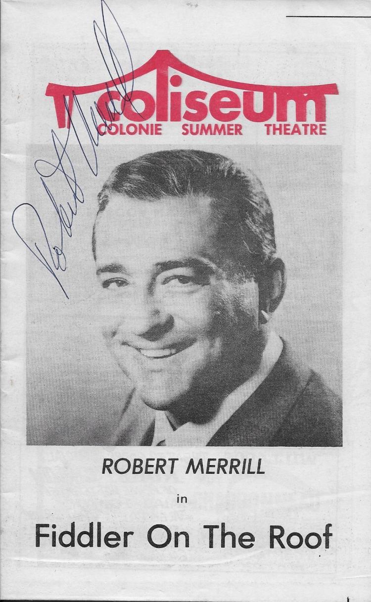 Robert Merrill Hand Signed Play Program Fiddler On The Roof