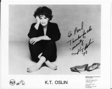 K. T. Oslin Hand Signed Black & White Photo with Inscription