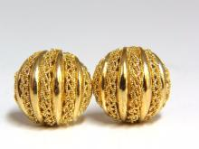 18kt Gold Half Ball Domed Lace Earrings
