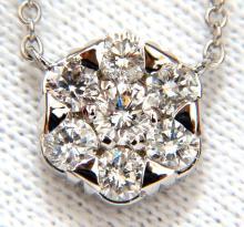 1.08ct. (7) DIAMONDS CLUSTER NECKLACE H/VS 14KT 16 INCH
