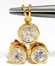 Matching earrings & pendant 18kt 1.50ct. trilliant
