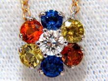 2.26ct natural multi-color sapphires diamond cluster