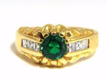 1.37ct natural round vivid green mens Colombian emerald