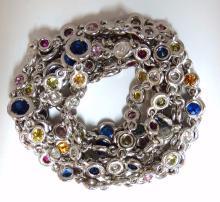 19.70ct natural sapphire diamonds station yard necklace