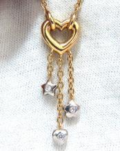 .50ct. open heart diamonds dangle necklace 14kt g/vs