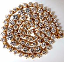 15.00ct natural round diamonds tennis necklace 14kt