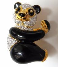 3.50ct natural obyx diamonds Panda Bear pendant enhance
