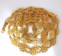 14kt Israel Linked Mehndi Deco Necklace 43.5 grams