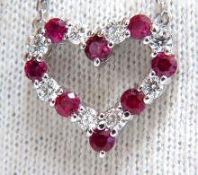 1.18ct Natural Red Ruby Diamond Heart Necklace 14KT
