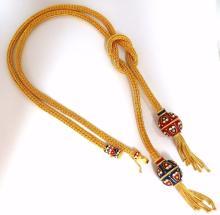 18kt Sailor's Knot Enameled Weave Necklace Long Bolo
