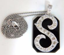 1.30ct natural diamonds onyx victorian necklace initial