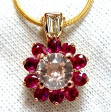 4.27ct natural pink sapphire ruby diamonds necklace 14k