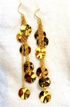 High Shine finish 12 petals dangle earrings 18kt 3D