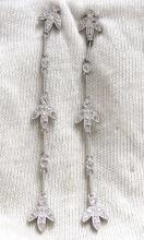 .33ct 2.5 inch long crescent petal dangle earrings 14kt