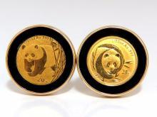 .999 Coin Panda 1/20 Natural Jet Black Onyx rim clip