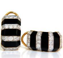 1.76CT Diamonds Carved Jet Black Onyx Clip Huggie Ear