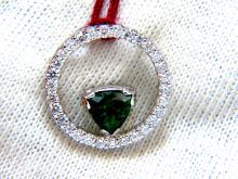 1.55ct Natural Tsavorite diamonds circle pendant 14kt