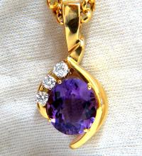 11.05ct natural oval amethyst diamonds necklace 14kt