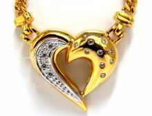 .25ct natural diamonds heart necklace 14kt yellow gold