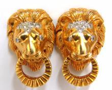 .30ct natural diamonds lion earrings 18kt 3d