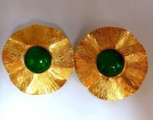 45ct Cabochon Jade clip earrings 14kt circular graver
