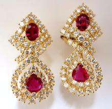 GIA Certified natural red ruby diamond dangle earrings