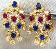 7.00ct natural sapphire ruby diamond dangle earrings