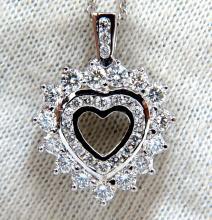 1.20ct natural diamonds heart pendant 14kt double row