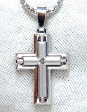 14kt Cross & Rope twist chain necklace