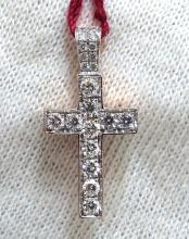 .50ct natural diamonds rounds cross necklace 14kt Petit