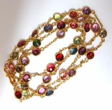 17ct natural peridot spinel rhodolite yard necklace 18k