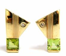 1.04ct natural asscher cut peridot diamonds modern ear