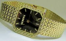 14KT GOLD MENS GENEVA WATCH MIRROR GOLD DIAL EXCELLENT