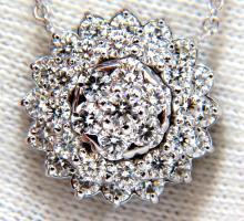 1.50ct diamonds halo cluster necklace 14kt. G/VS