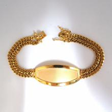 14kt Classic Medical ID Tag Bracelet Dual Chain 8Inch