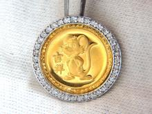 22kt Chinese Mouse Medallion Fortune Diamonds Pendant