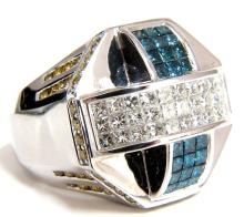 3.00CT MENS CROSSOVER PHILLIPS HEAD RAISED ARCH BLUE
