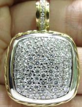 2.40CT DIAMONDS CLUSTER PAVE PENDANT // 2 TONED ROPE