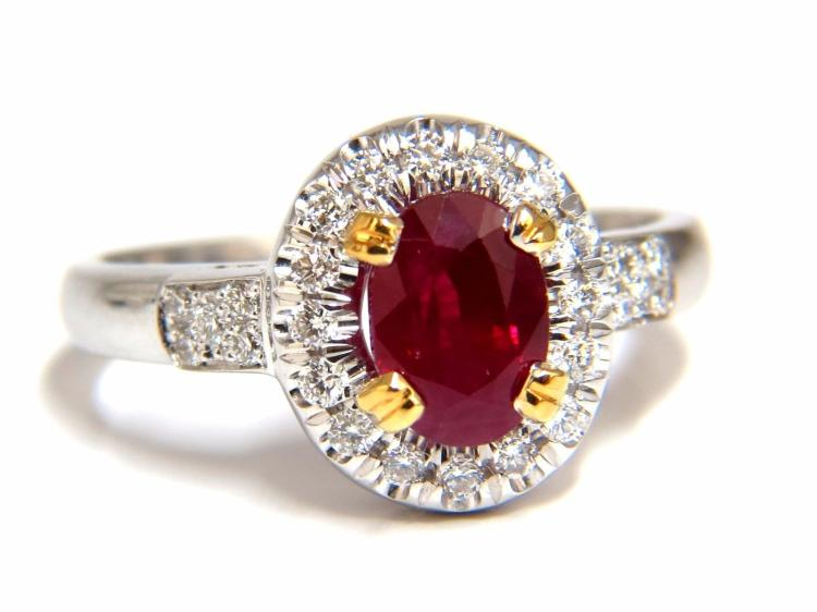 GIA Certified 1.95ct Natural Ruby Diamond Ring 18kt
