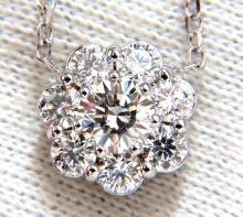 1.52ct diamonds halo cluster necklace 14kt