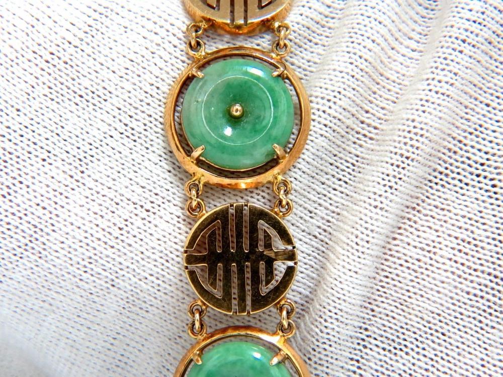1950s Estate Natural Jade Chinese Symbol Bracelet 14kt