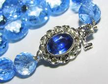 NATURAL 260CT. BLUE TOPAZ & SAPPHIRE DIAMOND NECKLACE